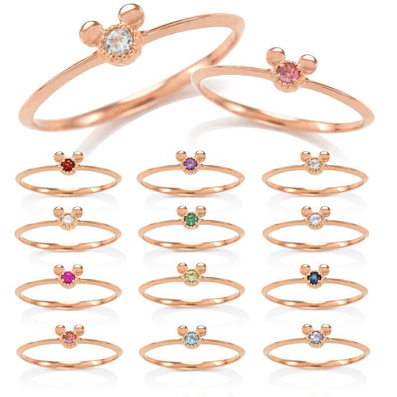 【D-Made】バースストーンピンキーリング Anniversary Jewelry ミッキーアイコン ペリドット