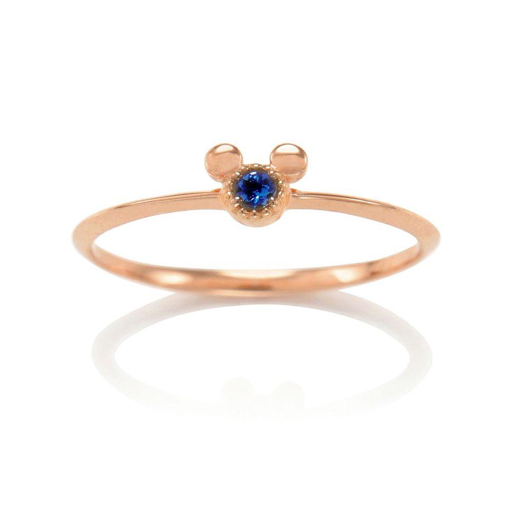 【D-Made】バースストーンピンキーリング Anniversary Jewelry ミッキーアイコン ブルーサファイア