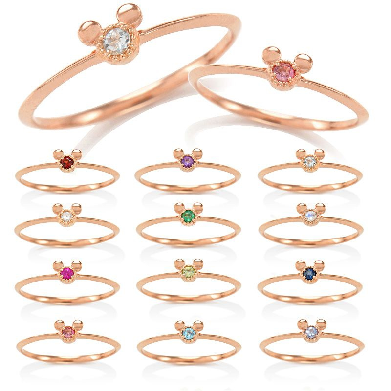 【D-Made】バースストーンピンキーリング Anniversary Jewelry ミッキーアイコン タンザナイト