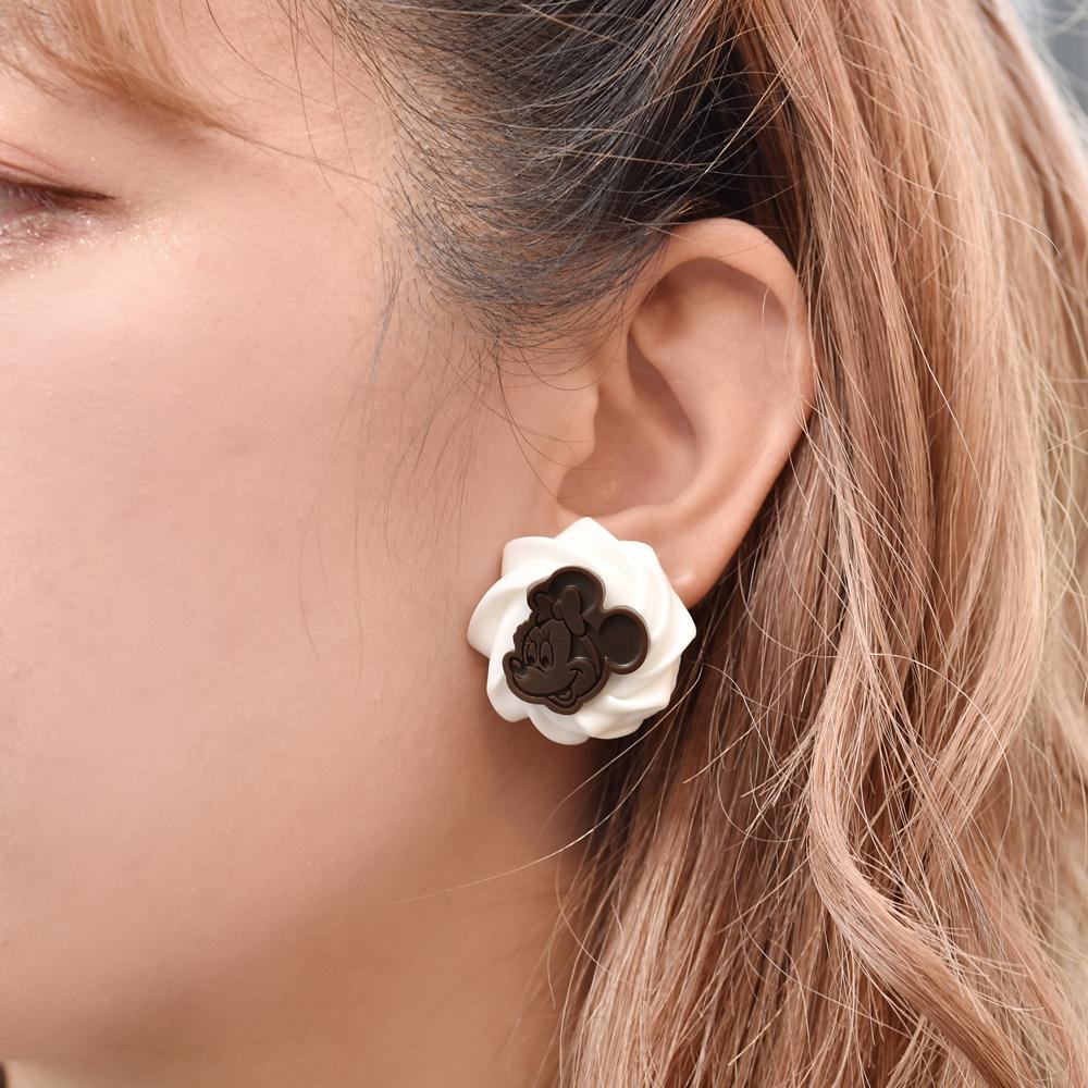 【キューポット】ミッキー&ミニー/イヤリング ホイップクリーム&チョコレート