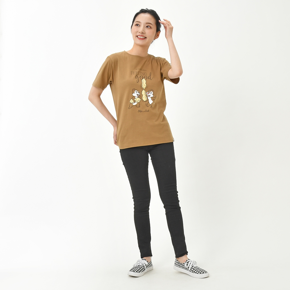 【FOOD TEXTILE】チップ&デール 半袖Tシャツ ブラウン Chip&Dale FOOD TEXTILE