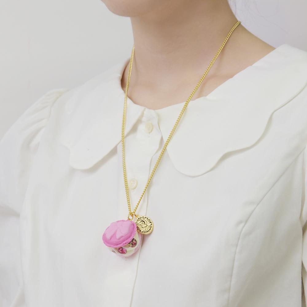 【キューポット】シンデレラ/ネックレス ピンクドレスマカロン