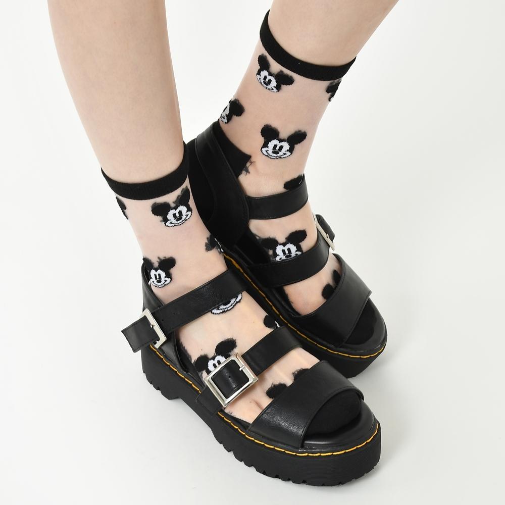 ミッキー 靴下 シースルー フェイス