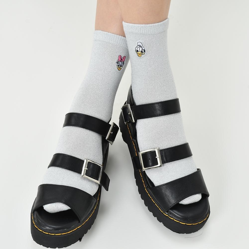 ドナルド&デイジー 靴下 ラメ フェイス 刺しゅう アシンメトリー