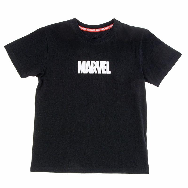 半袖Tシャツ(M) マーベル ロゴ 発泡プリント ブラック