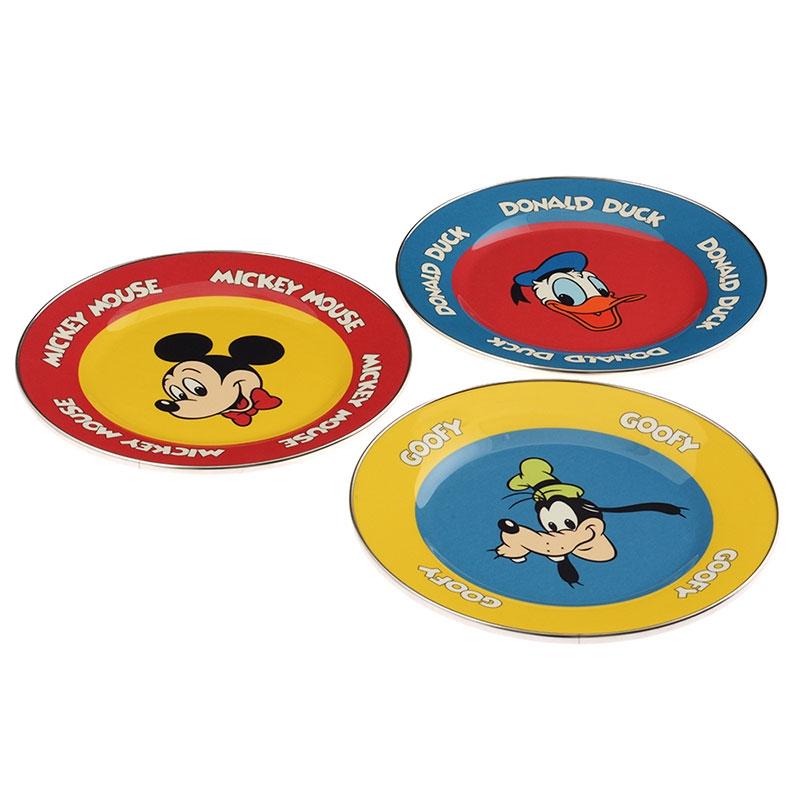 メラミンプレートセット ミッキー、ドナルド、グーフィー Mickey Mouse 90th Vintage