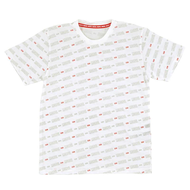 半袖Tシャツ(M) マーベル ロゴ ホワイト 総柄