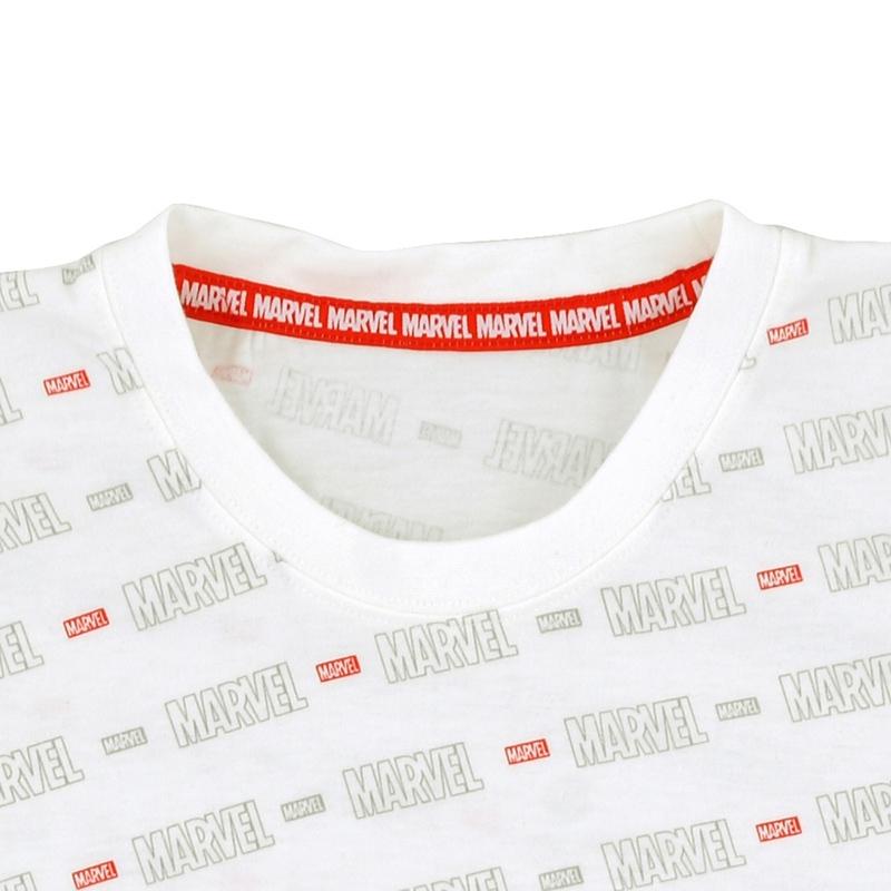 半袖Tシャツ(L) マーベル ロゴ ホワイト 総柄