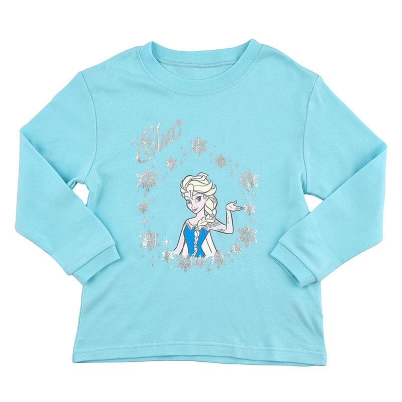 エルサ キッズ用長袖パジャマ(110) 巾着付き スノーブルー