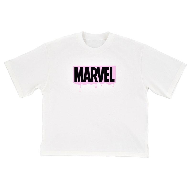 マーベル 半袖Tシャツ ロゴ ドリッピング PINK