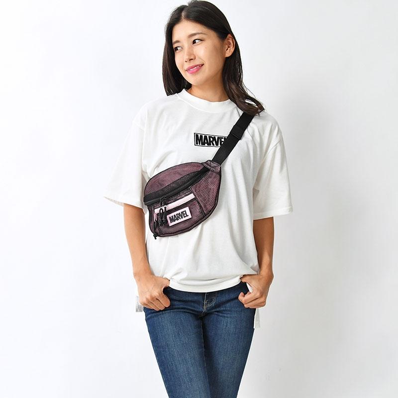 【アウトレット】マーベル ボディバッグ・ウエストポーチ ロゴ メッシュ PINK