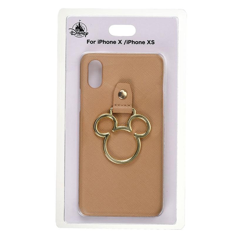 ミッキー iPhone X/XS用スマホケース・カバー ベージュ アイコンリング