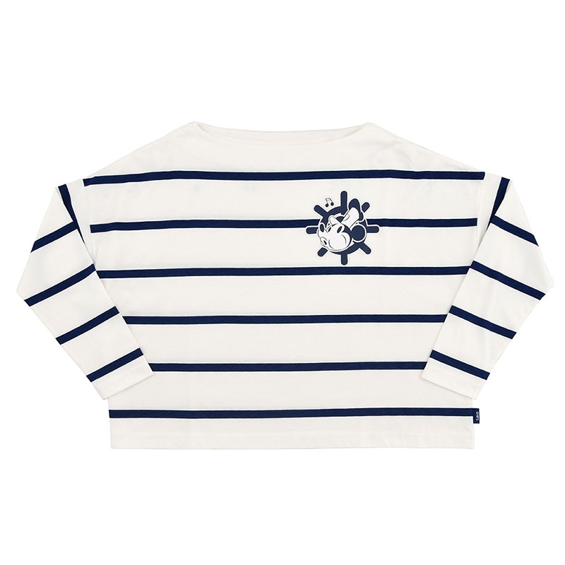 【SHIPS】ミッキー 長袖Tシャツ ボーダー 蒸気船ウィリー