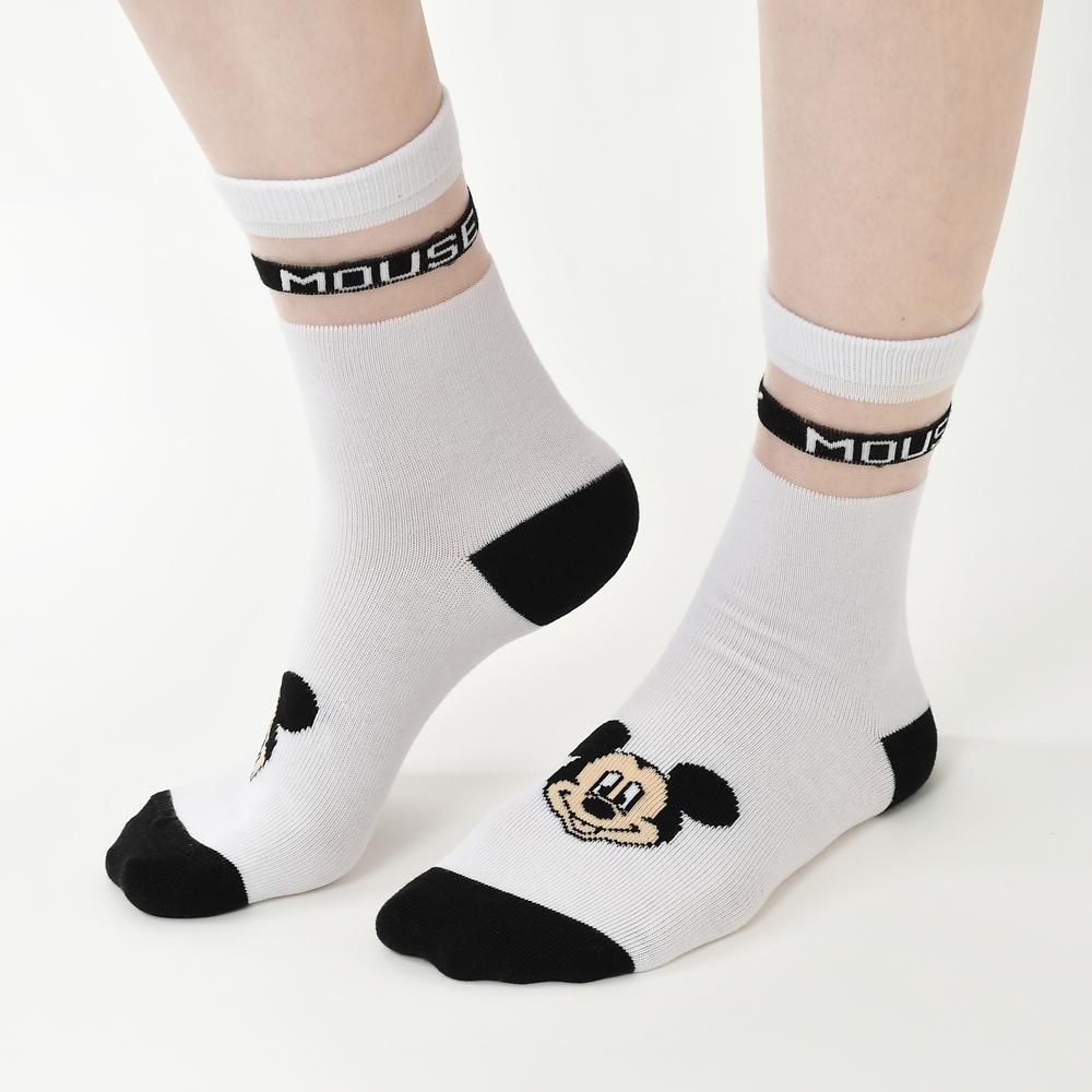 ミッキー 靴下 シースルー ネームロゴ