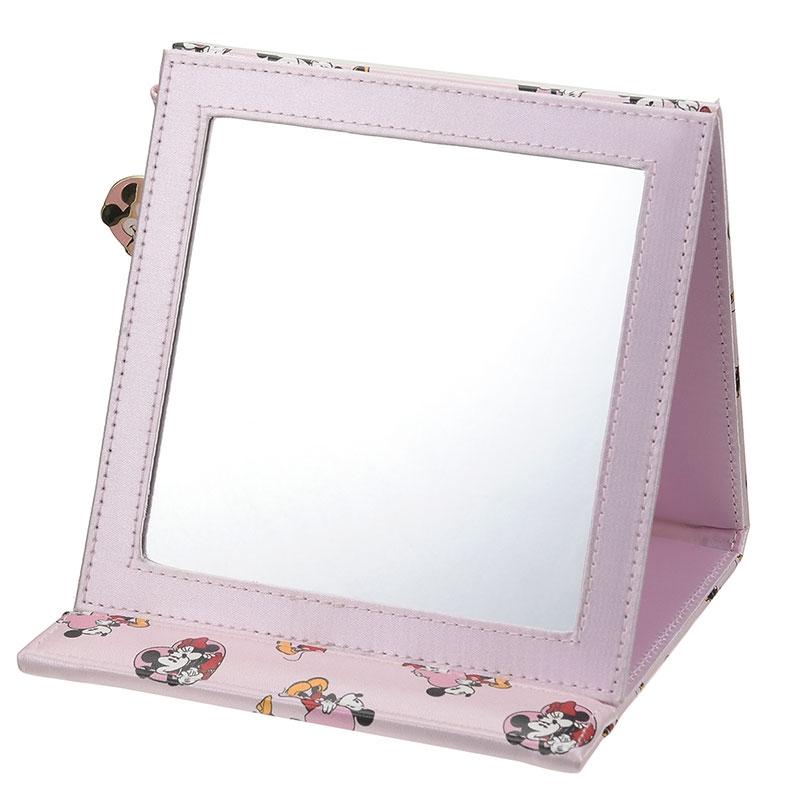 ミッキー&ミニー ミラー・鏡 折りたたみ式 ハートピンク