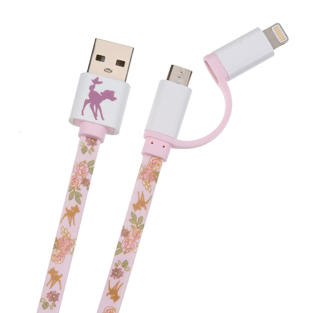 バンビ iPhone用USBコード 2in1 フェミニンフラワー