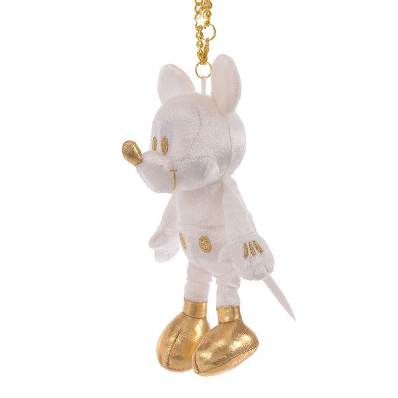 ミッキー ぬいぐるみキーホルダー・キーチェーン ホワイト&ゴールド