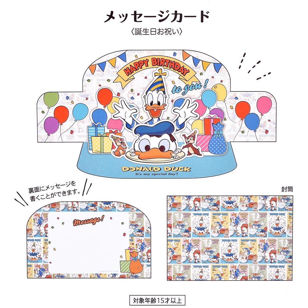 ドナルド、チップ&デール メッセージカード バースデー Donald Duck Birthday 2020