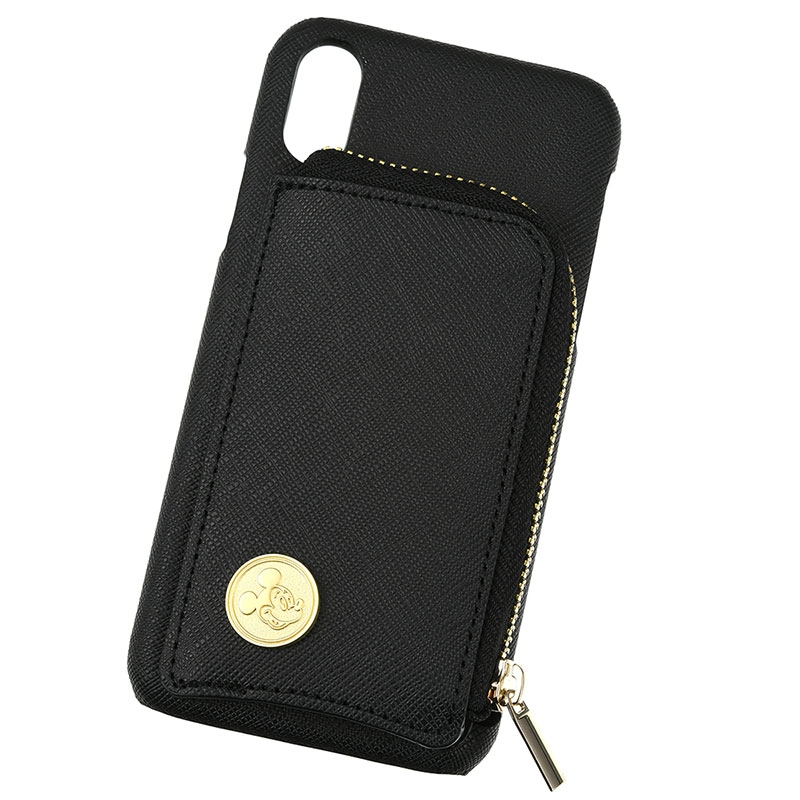 【アウトレット】ミッキー iPhone X/XS用スマホケース・カバー ブラック ファスナーポケット