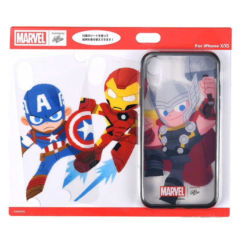 【アウトレット】マーベル アイアンマン、キャプテン・アメリカ、ソー iPhone X/XS用スマホケース・カバー セット 着せ替え グリヒル