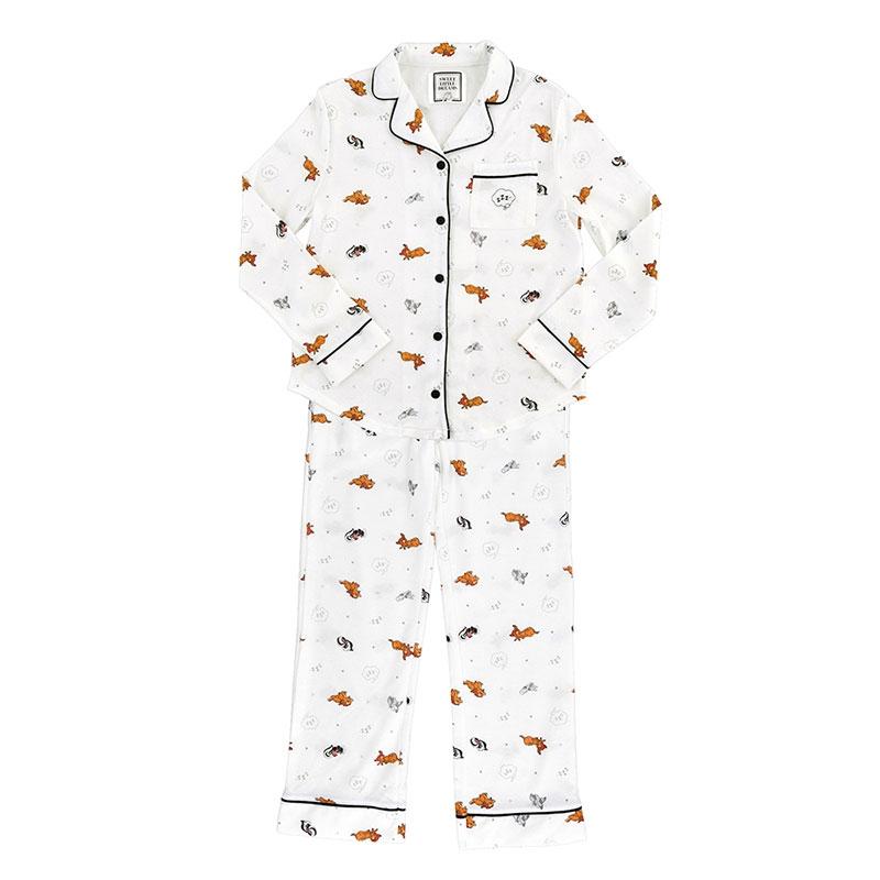 バンビ、とんすけ、フラワー 長袖パジャマ 巾着付き Sleep Day