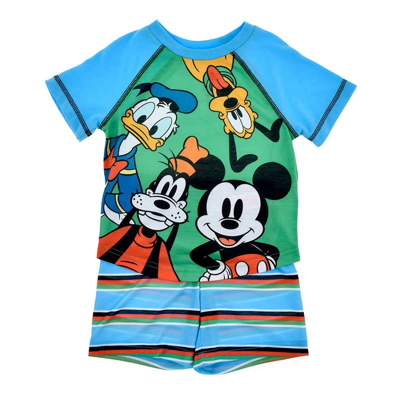 ミッキー&フレンズ キッズ用半袖パジャマ(110) ラグラン