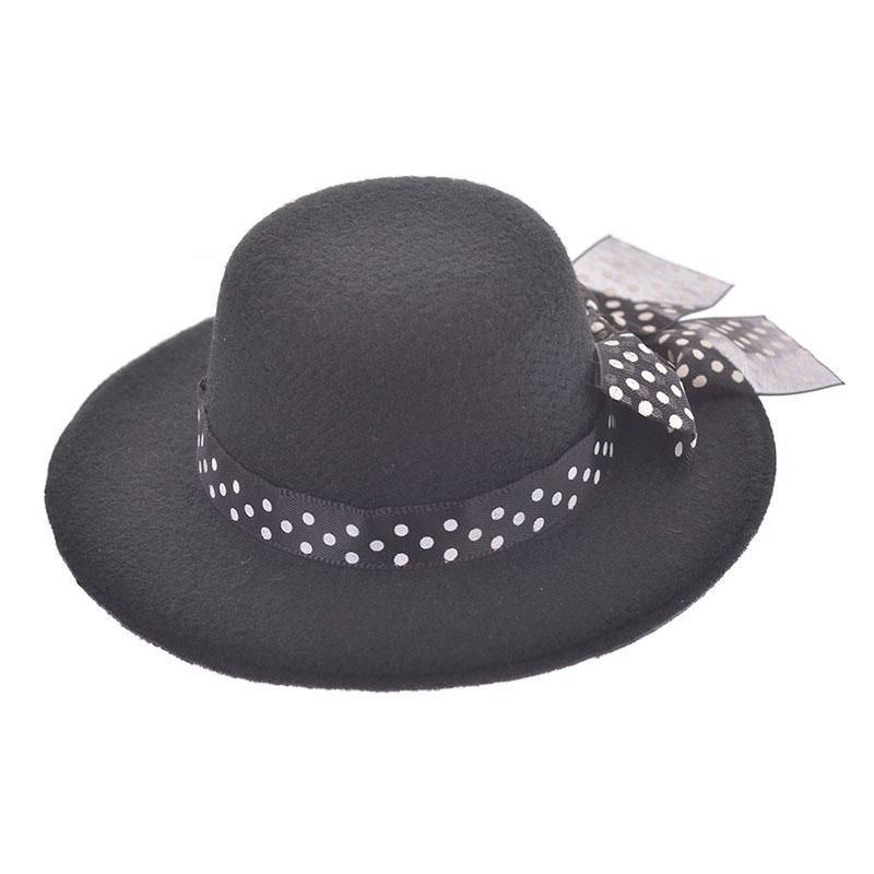 nuiMOs ぬいぐるみ専用帽子・ハット ブラック ドットリボン