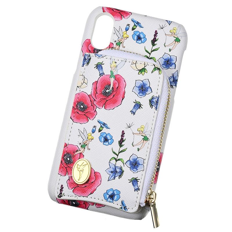 ティンカー・ベル iPhone X/XS用スマホケース・カバー フラワー ファスナーポケット