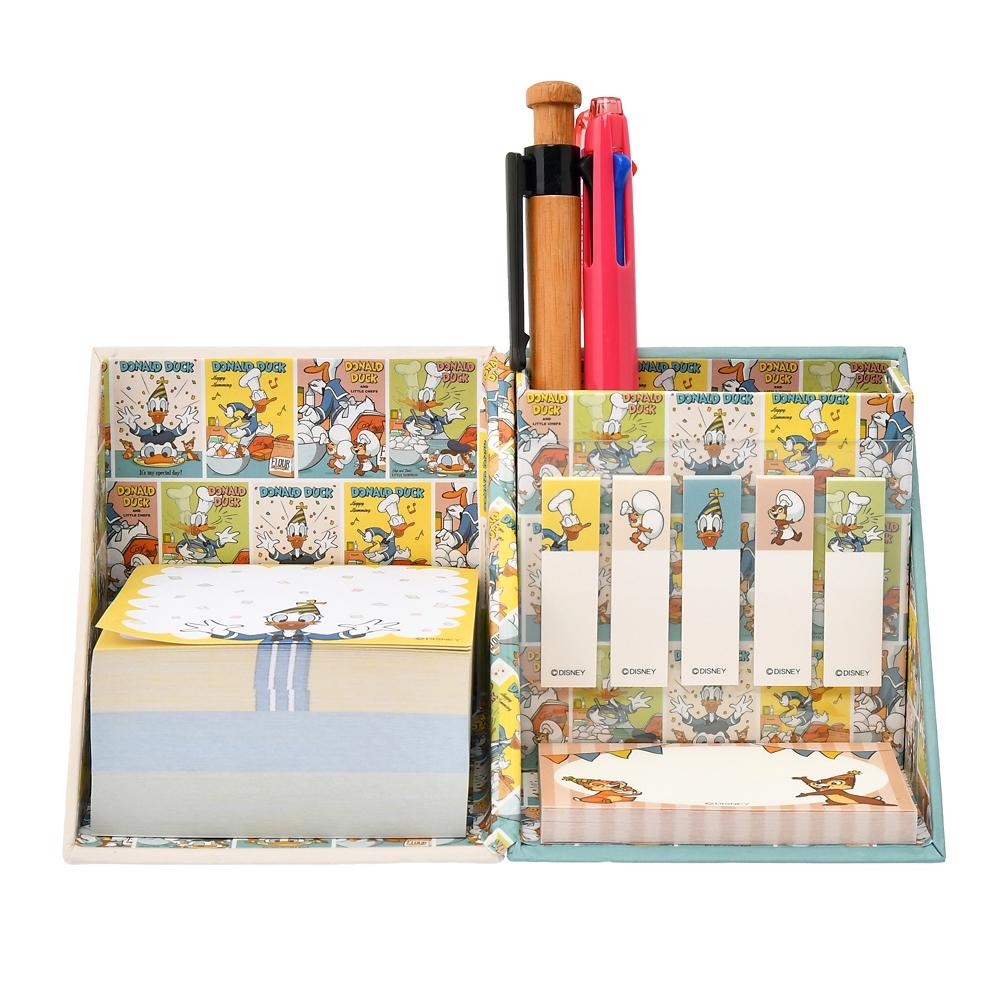 【アウトレット】ドナルド、チップ&デール 付箋・メモ帳 ペンスタンド付き バースデー