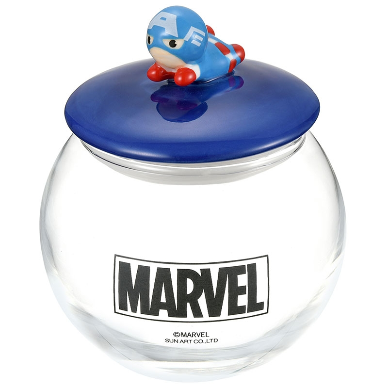マーベル キャプテン・アメリカ キャニスター ガラス 丸型 KAWAII
