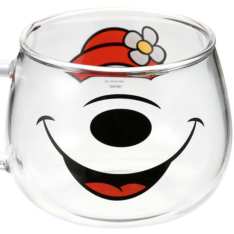 ミニー マグカップ 耐熱ガラス フェイスマグ