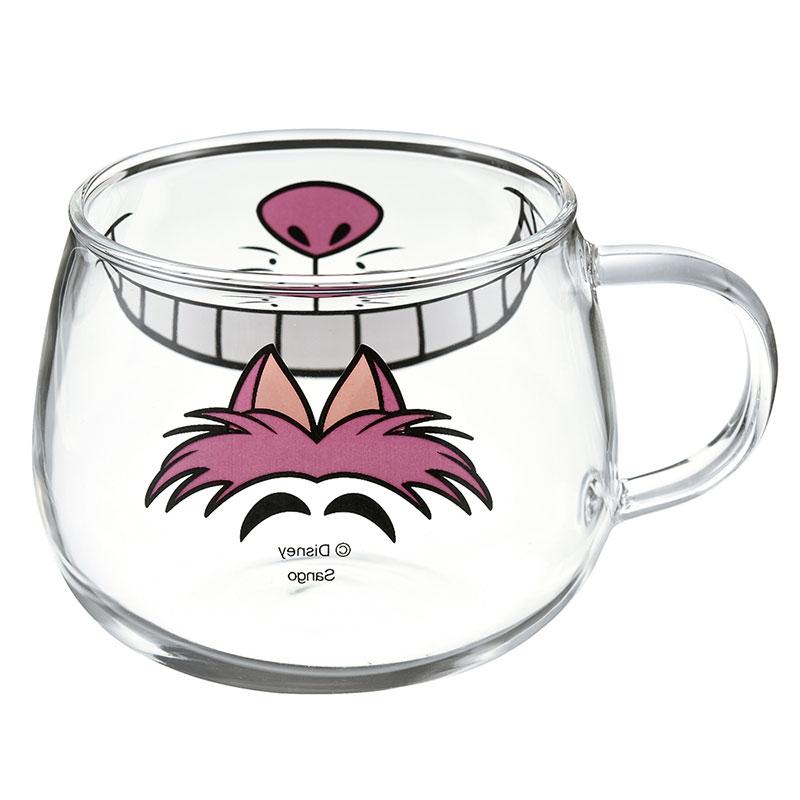 チェシャ猫 マグカップ 耐熱ガラス フェイスマグ