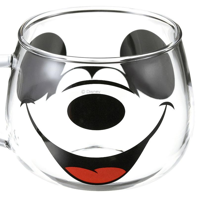 ミッキー マグカップ 耐熱ガラス フェイスマグ