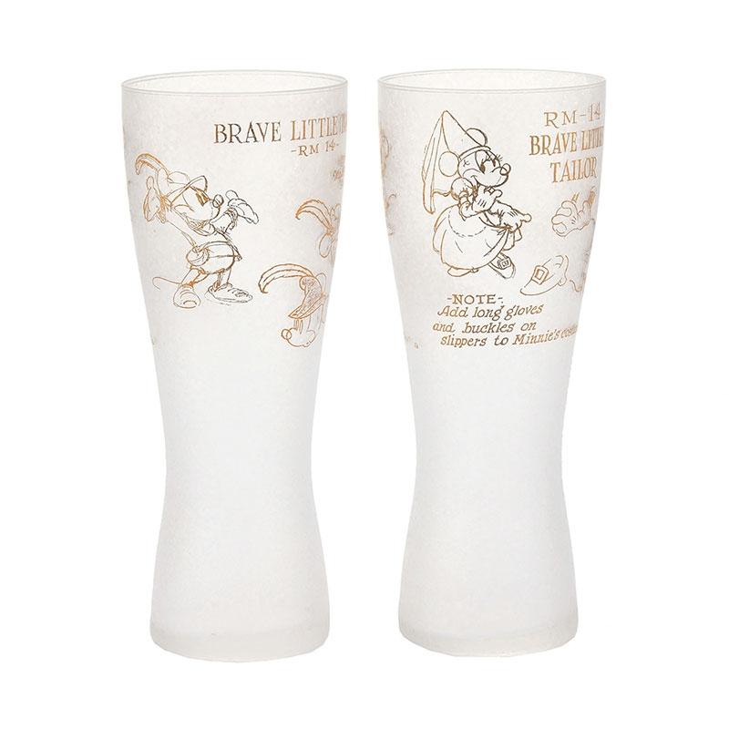 ミッキー&ミニー 薄吹きグラス Brave Little Tailor