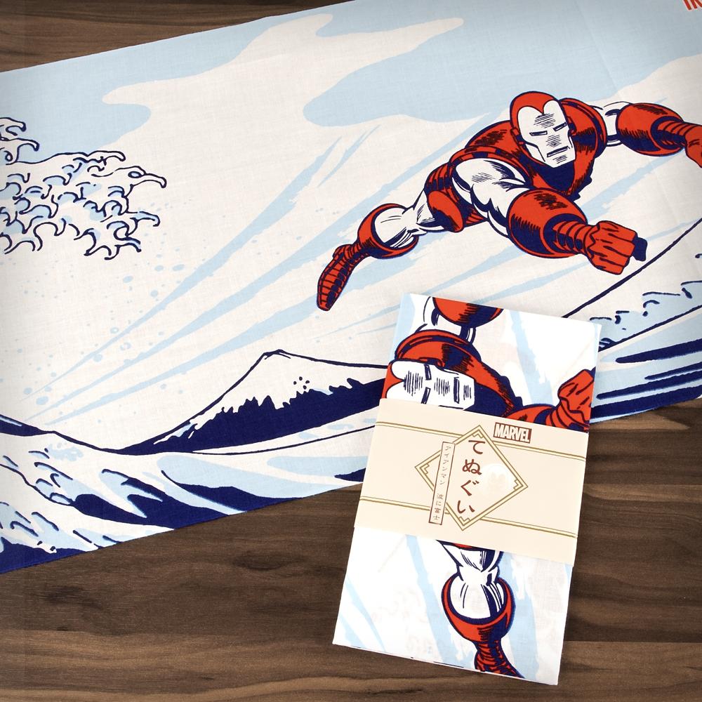 MARVEL てぬぐい:アイアンマン 波に富士
