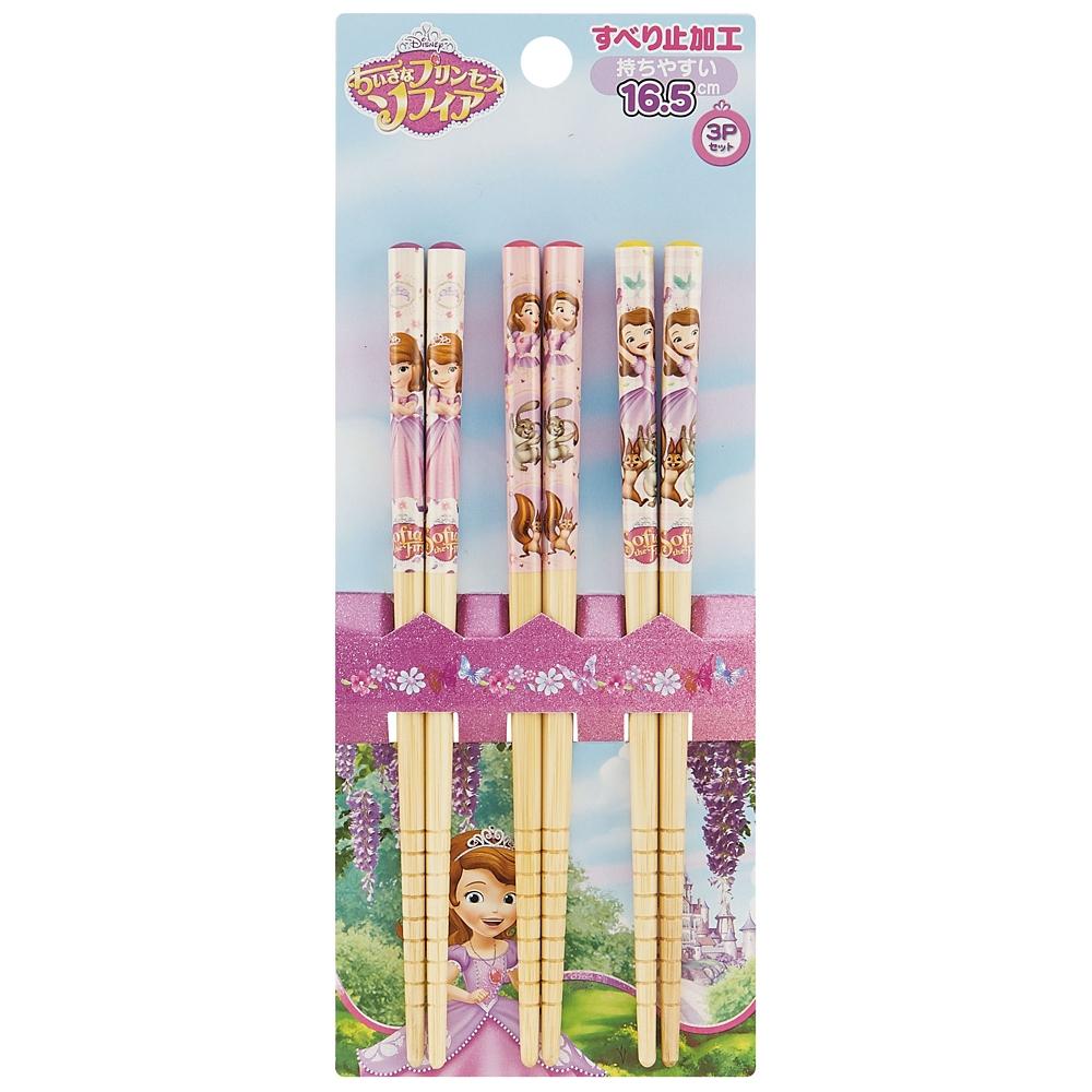 子ども用竹安全箸〔すべり止加工〕3点セット[16.5cm] 小さなプリンセス ソフィア18  ANT2T