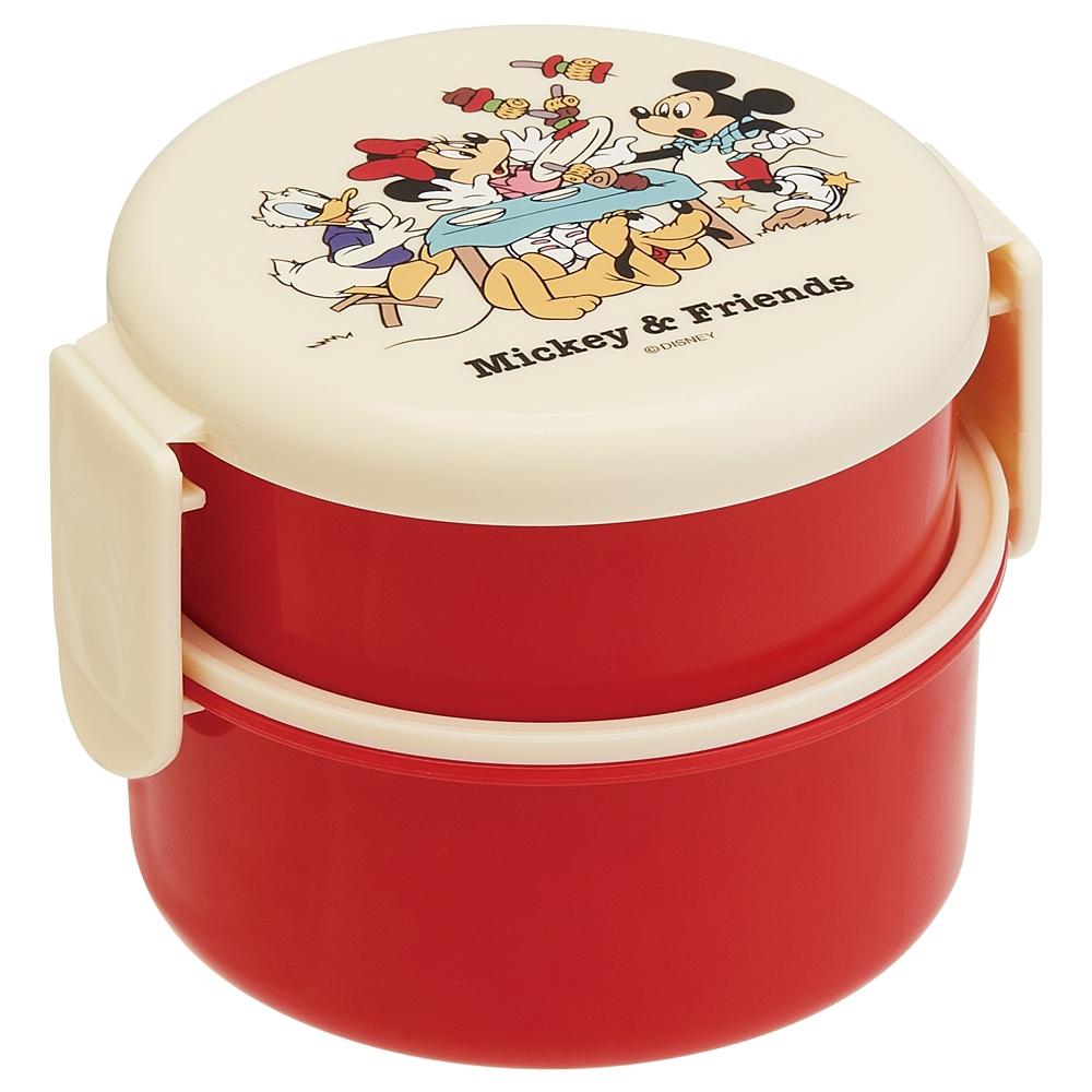 ●ミッキー&フレンズ ピクニック●丸型ランチボックス2段(ミニフォーク付)ONWR1