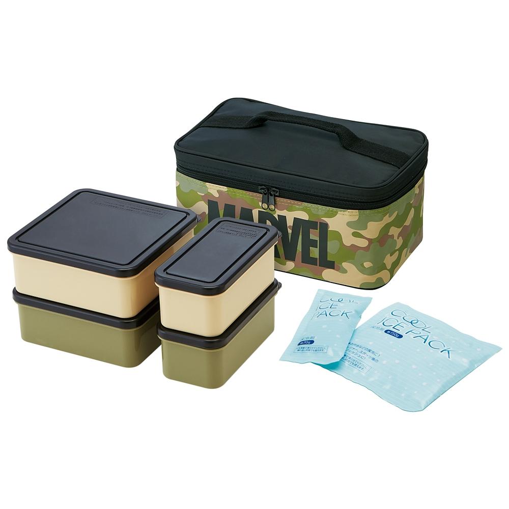マーベル ロゴ ミリタリー 行楽ランチボックス 保冷バッグ付き KCPC4