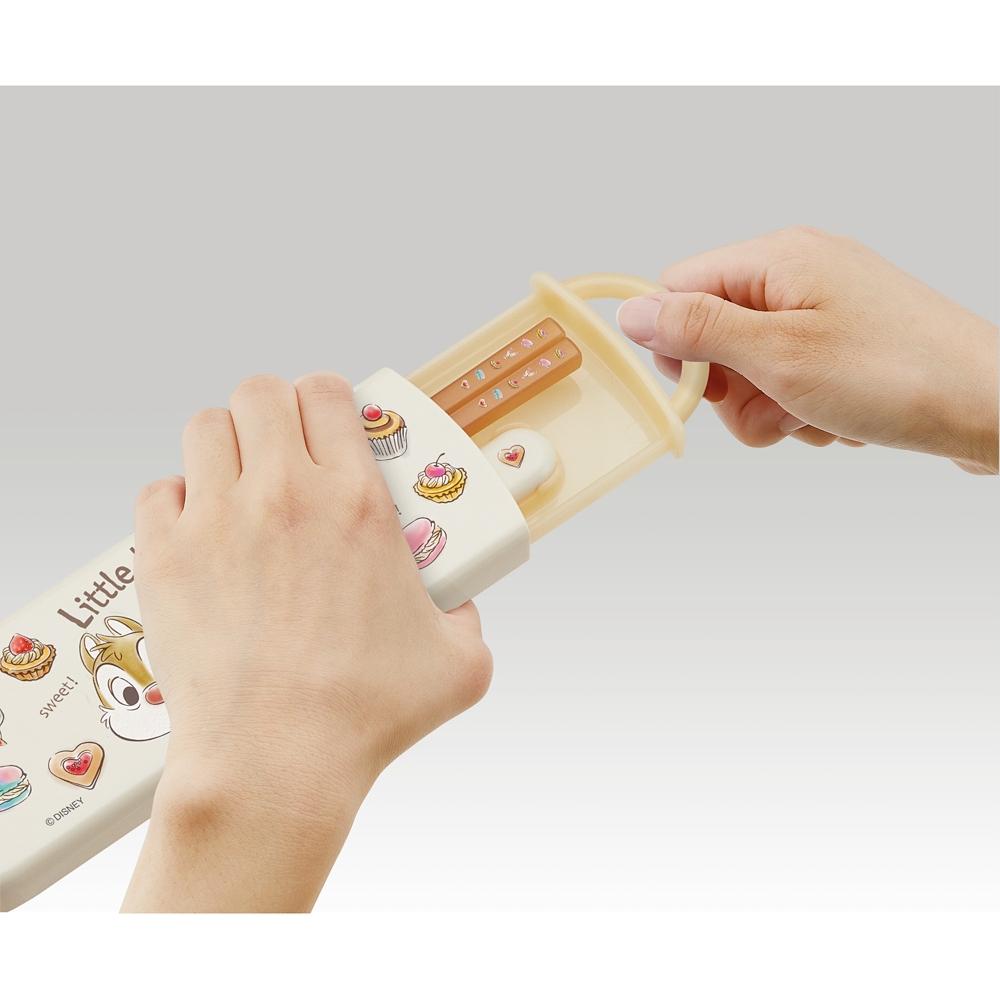 食洗機対応スライド式箸スプーンコンビセット[名前入れスペース付きハシ]●チップ&デール スイーツ●CCA1