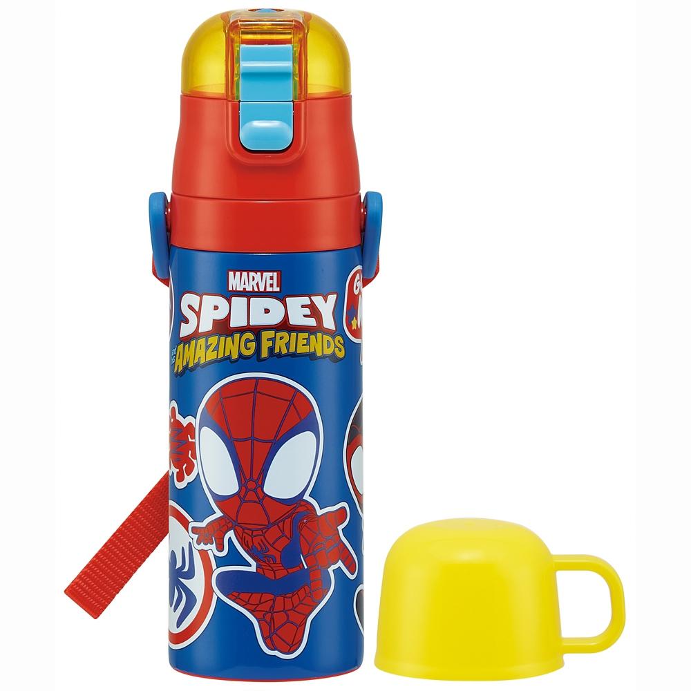 キャップを替えて使い方2通り超軽量コンパクト2WAYステンレスボトル SPIDEY スパイディ【スパイダーマン&アメイジング・フレンズ】 SKDC4