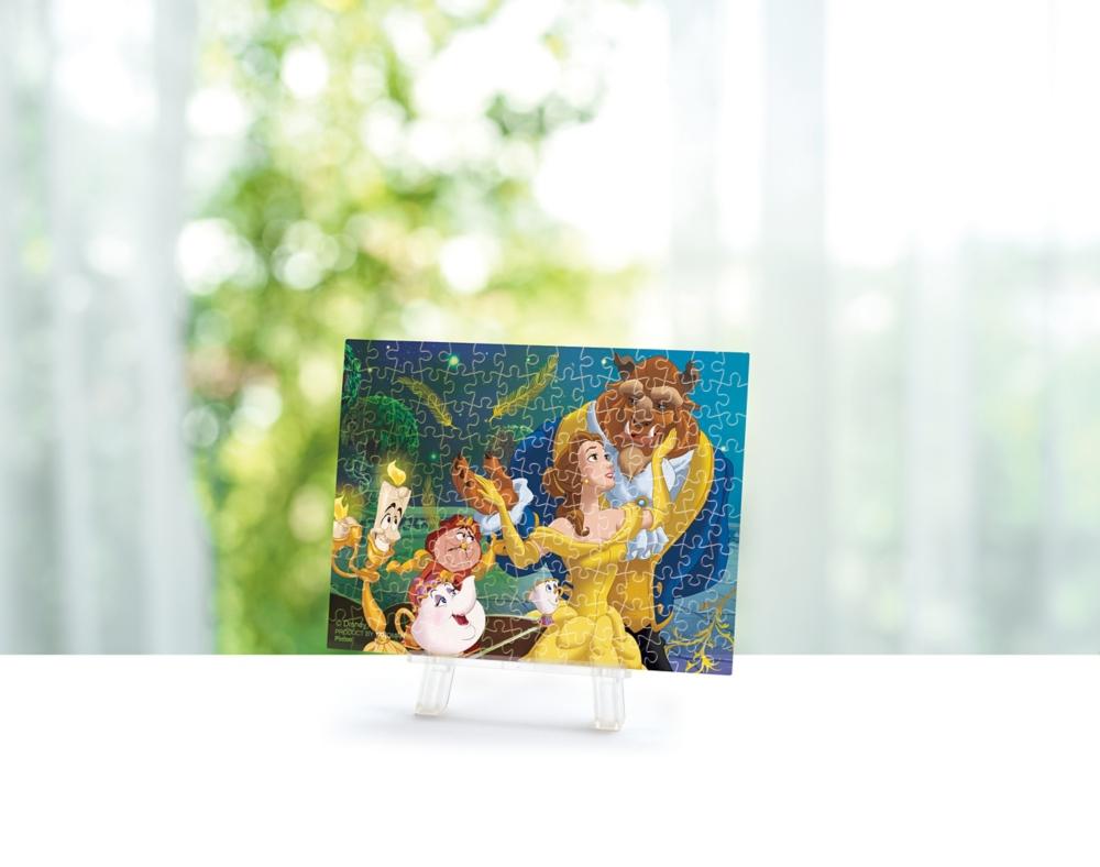ジグソーパズル やのまん 美女と野獣 プチパリエクリア(透明プラスチック製ピース プチサイズピース) 150ピース きらめく真実の愛 7.6×10.2cm ミニイーゼル付