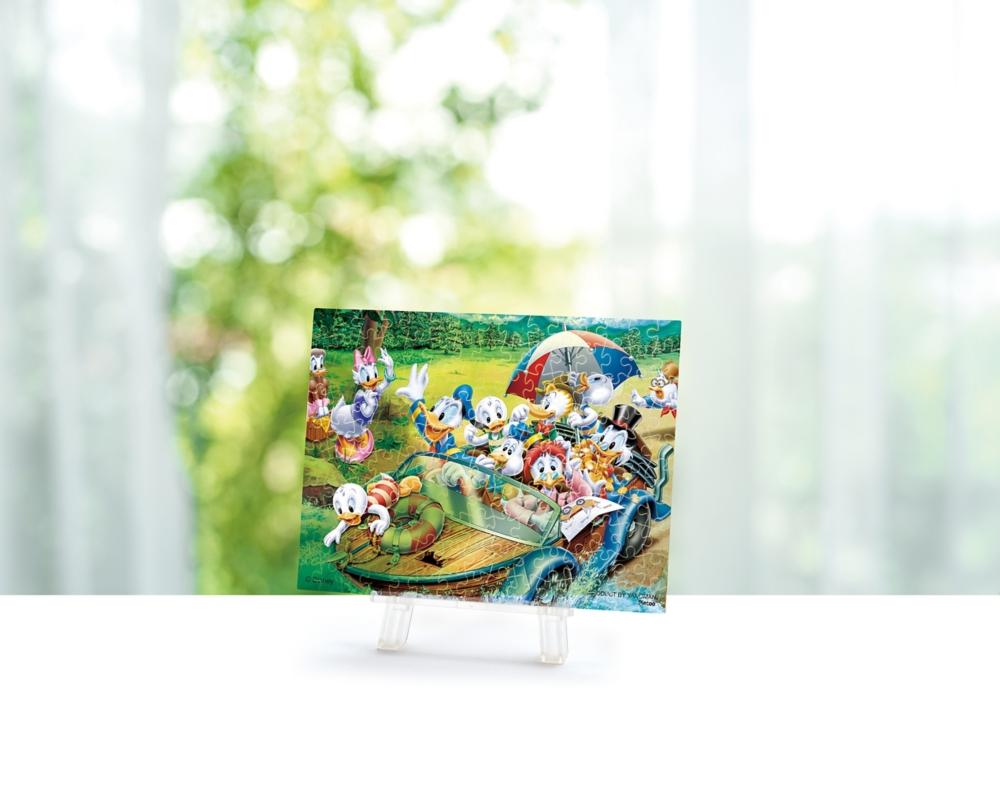 ジグソーパズル やのまん ドナルドダックプチパリエクリア(透明プラスチック製ピース プチサイズピース) 150ピース ドナルド・ファミリー・パーティ 7.6×10.2cm ミニイーゼル付