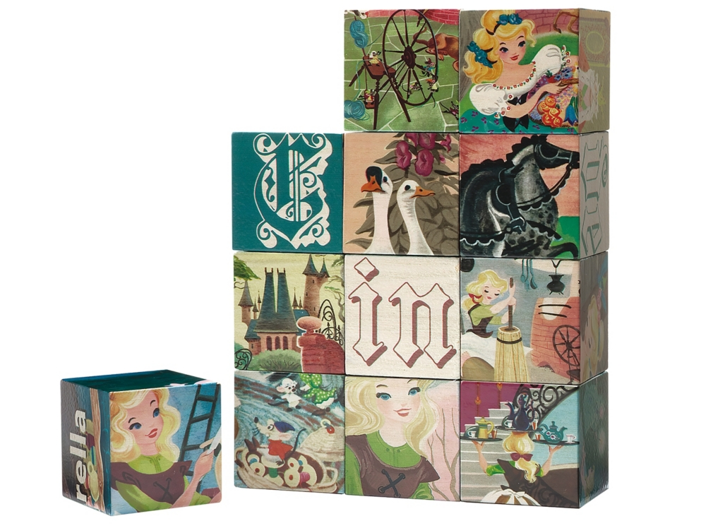 やのまん WOODISPLAY キューブパズル12ピース シンデレラ キューブ3.5cm角×12個 木製