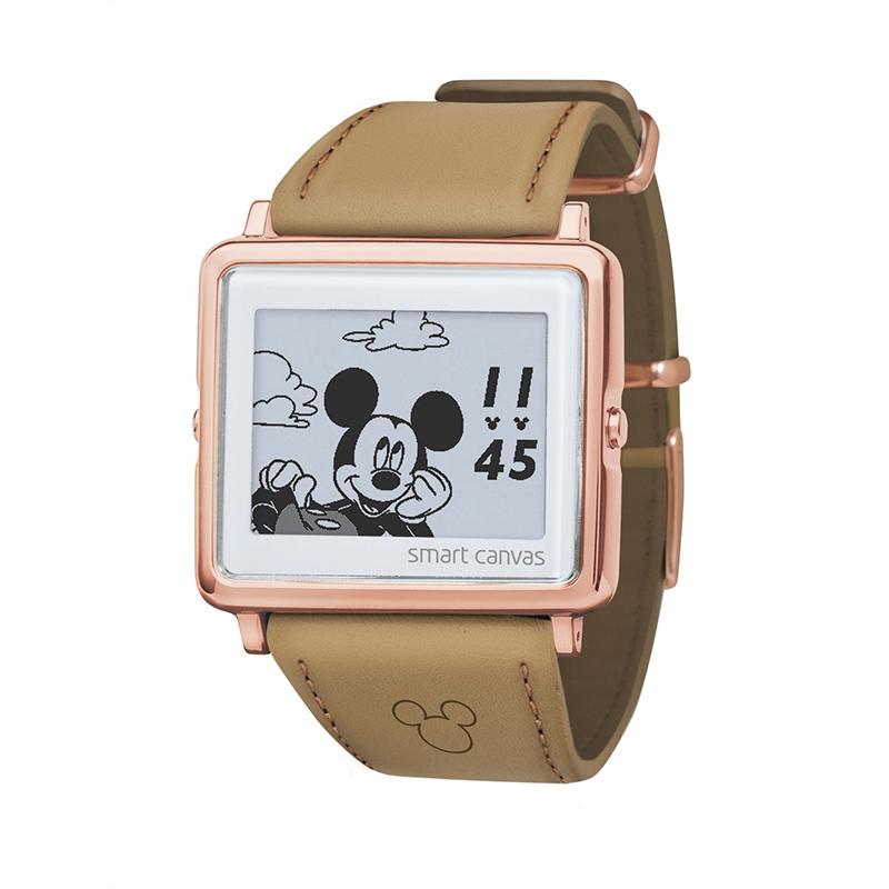 【smart canvas】腕時計・ウォッチ ミッキー ベージュ スムースレザー