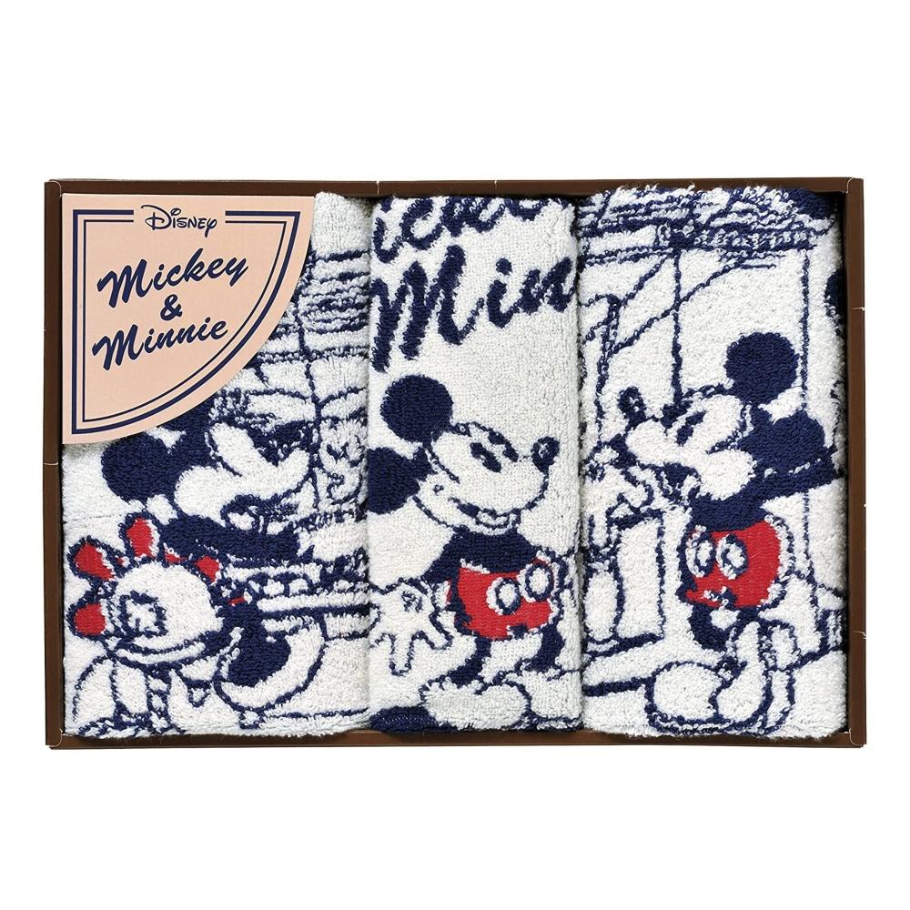 ミッキー&ミニー タオルギフト ウォッシュタオル・フェイスタオルタオル 3枚セット コミックミッキー&ミニー