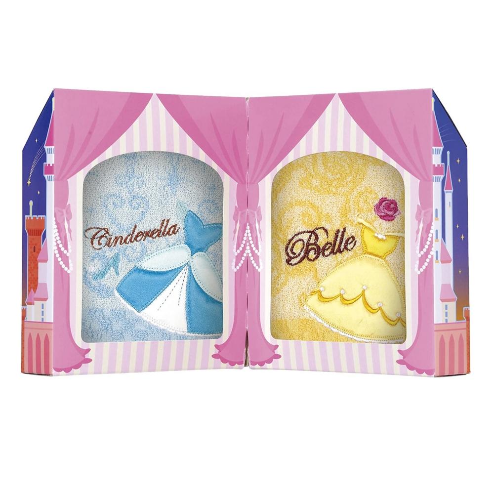 プリンセス シンデレラ 美女と野獣 タオルギフト ミニタオル 2枚セット シンデレラドレス&ベルドレス