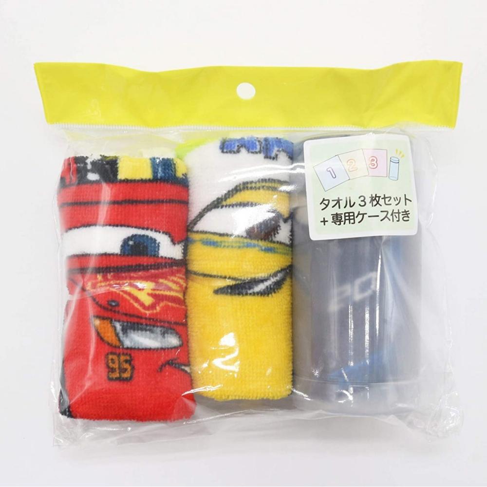 カーズ ハンドタオル3枚組 おしぼりケース付き カラフルモーター