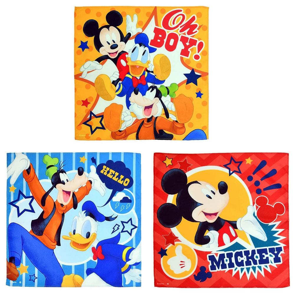 ミッキー&フレンズ ハンカチーフ3枚組 ハピネスポップ
