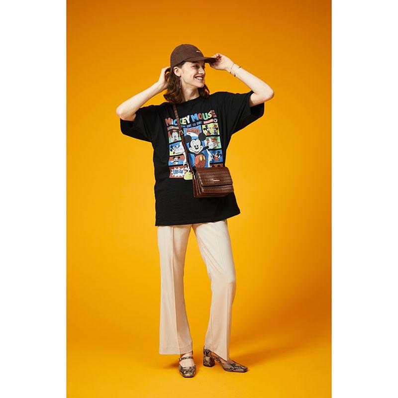 【MOUSSY】ディズニーストア限定 ミッキー&ミニー 半袖Tシャツ ブラック