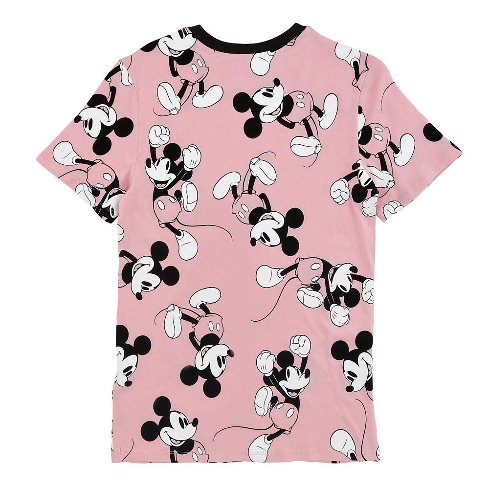 【送料無料】ミッキー 半袖Tシャツ 総柄 ピンク Walt Disney Worldロゴ